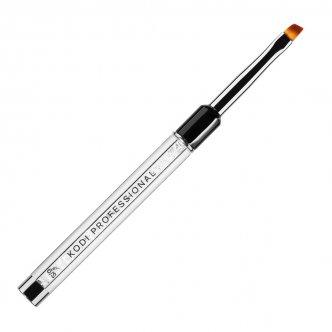 фото - Кисть для гелевого моделирования скошенная №6/S (нейлон; ручка: металл, акрил), Kodi