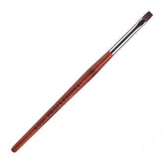 фото - Кисть для гелевого моделирования прямая №6/F (ворс:нейлон; деревянная ручка), Kodi