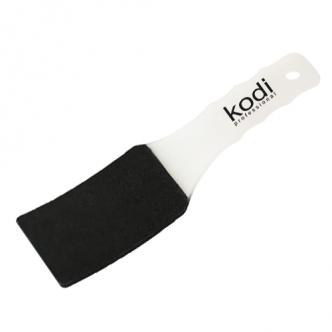 фото - Пилка для педикюра изогнутая (пластиковая белая ручка) 100/180, Kodi