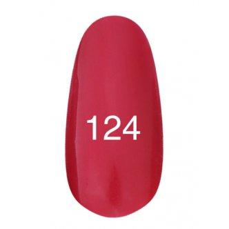 Гель лак № 124 (красный с перламутром) 8 мл., Kodi