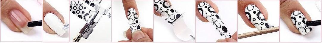 изображения процеса дизайна ногтевых пластин с помощью наклеек