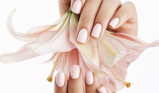 Нежный дизайн ногтей гель-лаком и лилия в руке