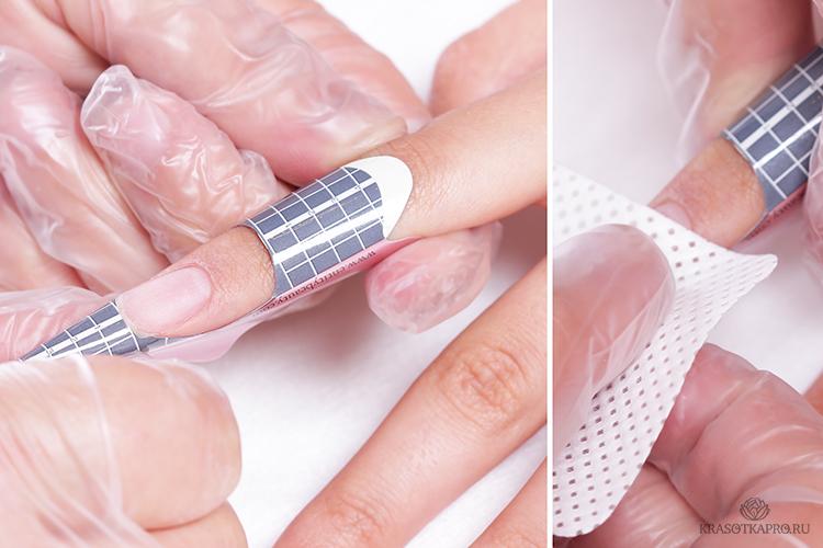 картинка процеса наращивания ногтей с помощью акрила на верхних формах