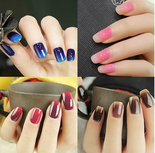Оформление ногтей термо-гель-лаком в разных цветовых решениях