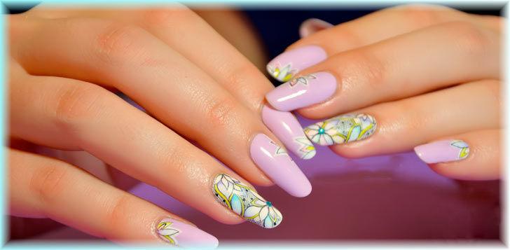 Фиолетовый дизайн ногтей гель-красками