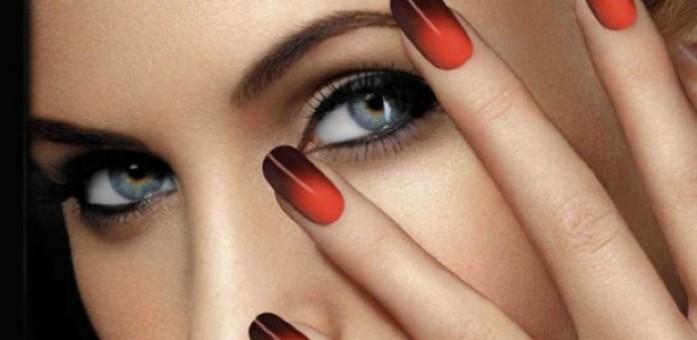 красно-черный термо гель-лак на ногтях