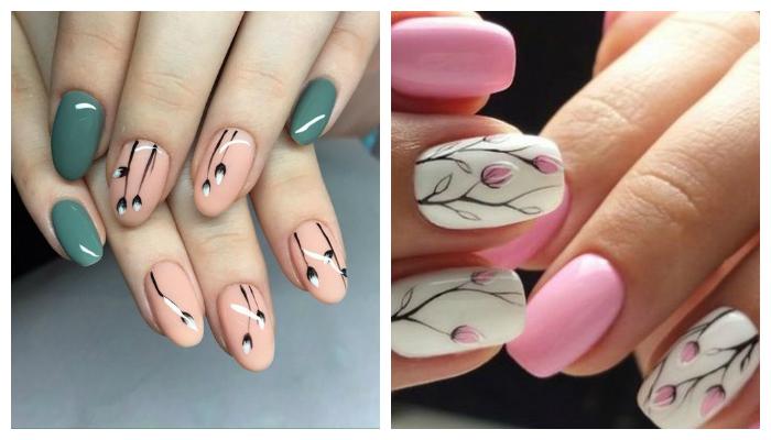 Нежный дизайн ногтей гель-красками вручную